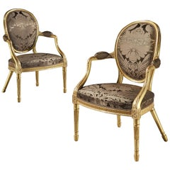 Pair of 18th Century Giltwood Armchairs attributed to Mayhew & Ince