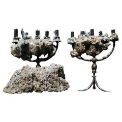 Pair of 18th Century Gothic Italian Wrought Iron Candelabra Cocooned in Wax