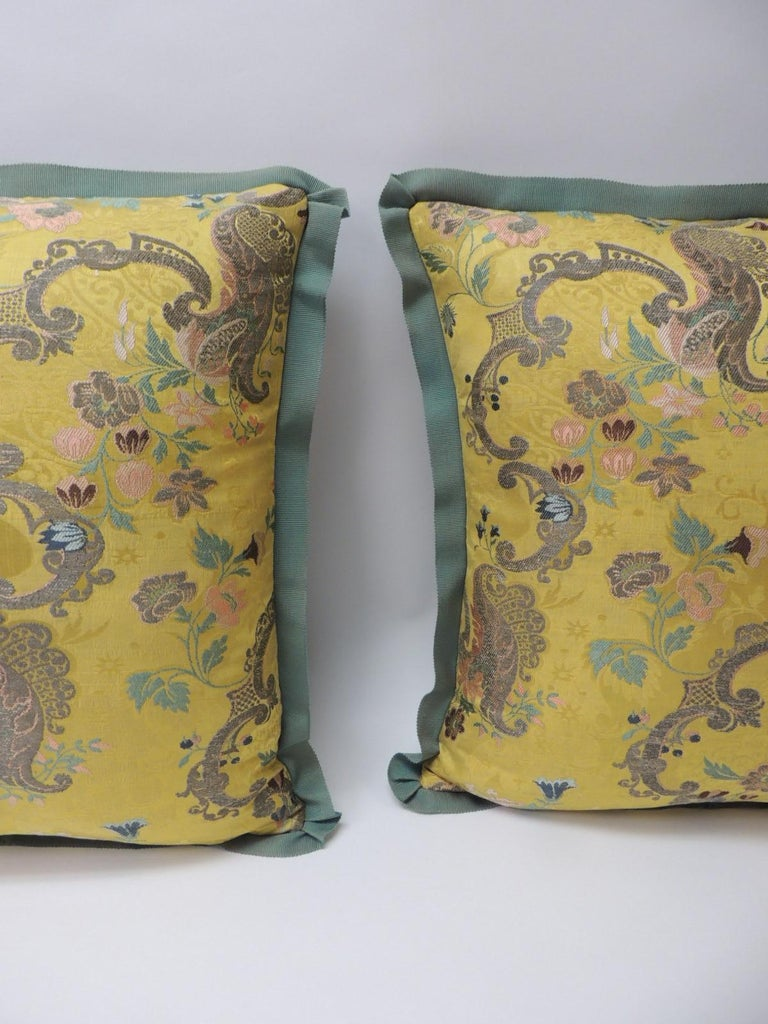 Regency Pair of Green and Gold Brocade French Silk Decorative Pillows For Sale