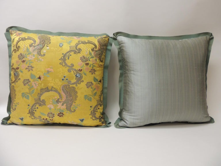 18th Century and Earlier Pair of Green and Gold Brocade French Silk Decorative Pillows For Sale