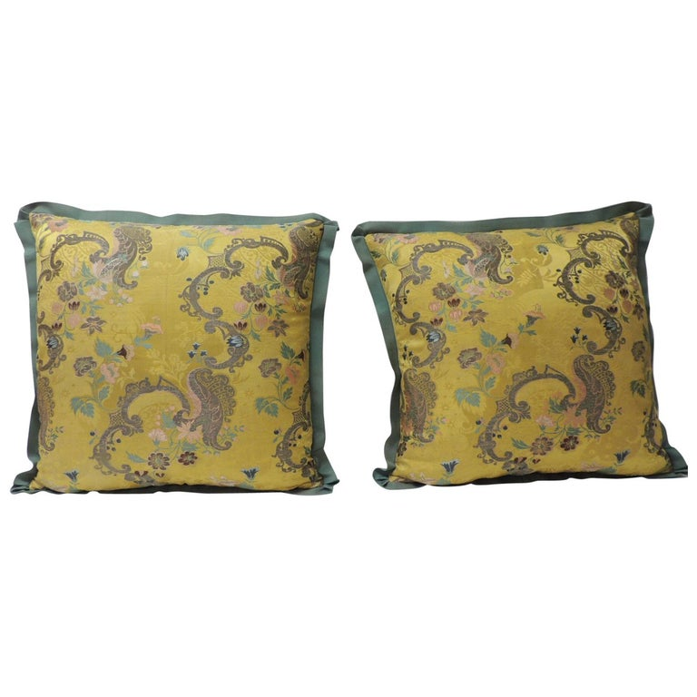 Pair of Green and Gold Brocade French Silk Decorative Pillows For Sale