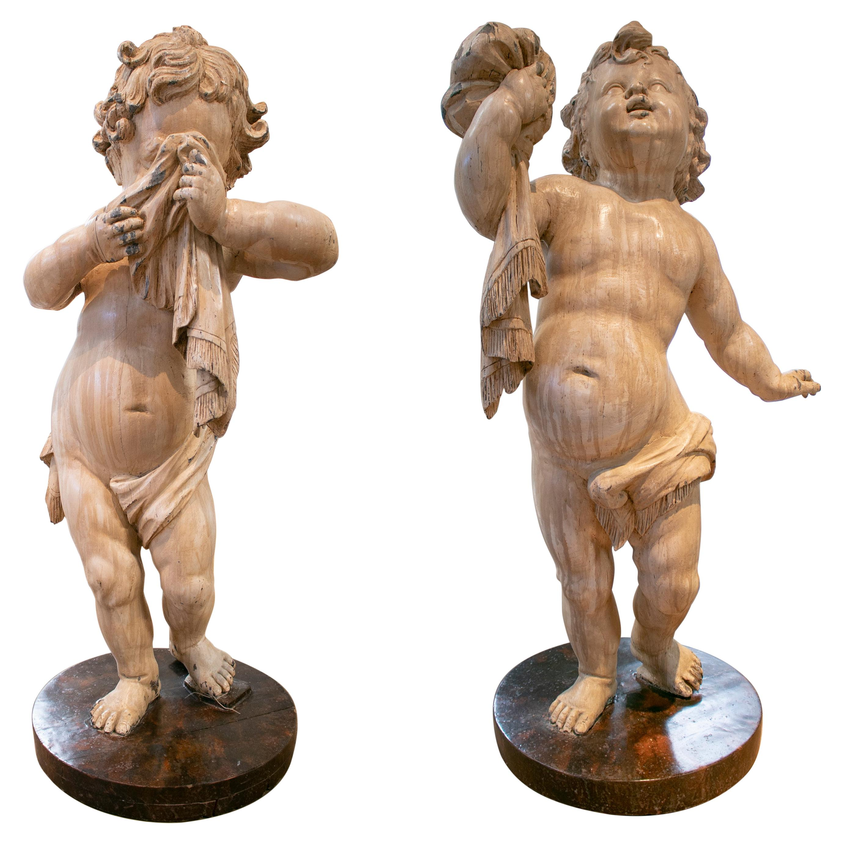 Pair of 18th Century Hand Carved & Painted Wooden Putti Cherubs