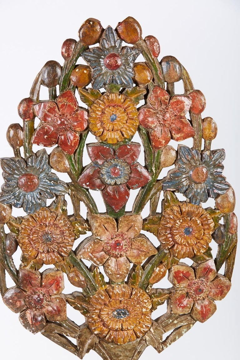 Pair of generous scale Spanish or Portuguese decorative polychrome garnitures also known as porta palmas in hand carved wood.