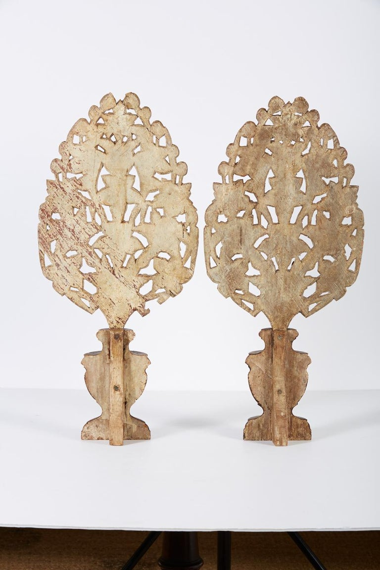 18th Century and Earlier Pair of 18th Century Hand Carved Polychrome Floral Garnitures For Sale
