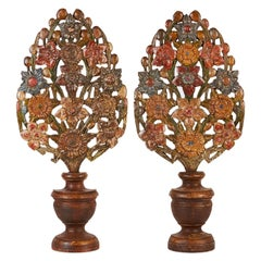 Pair of 18th Century Hand Carved Polychrome Floral Garnitures