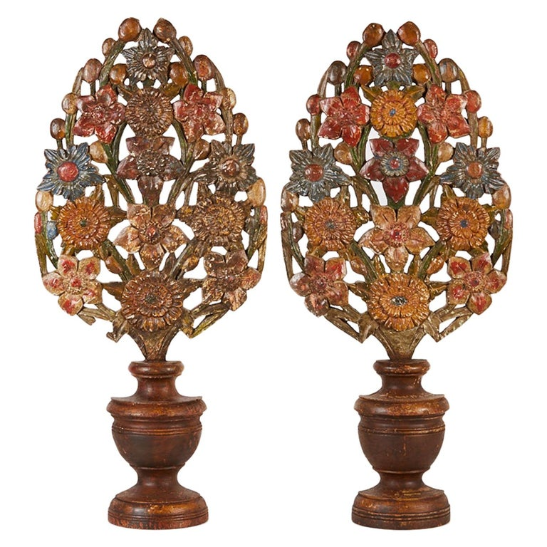 Pair of 18th Century Hand Carved Polychrome Floral Garnitures For Sale