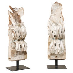 Pair of 18th Century Hand Carved Wood Italian Fragments on Stands