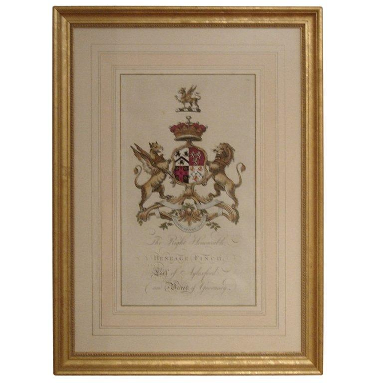 Pair of 18th Century Hand-Colored Armorial Engravings