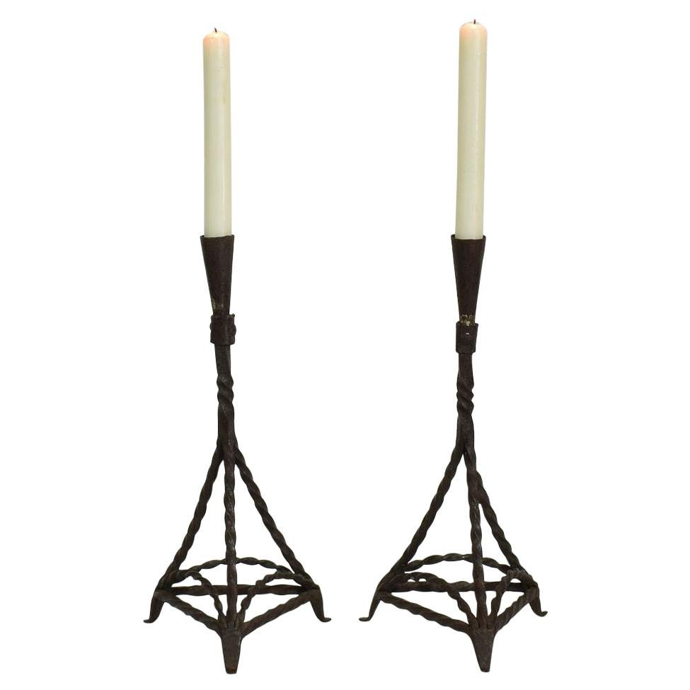 Pair of 18th Century Hand Forged Iron Candleholders