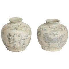Pair of 18th Century Hand Painted Vietnamese Small Ceramic Vases