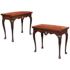 Pair of 18th Century Irish Brown Mahogany Tea Tables