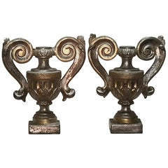 Pair of 18th Century Italian Altar Ornaments in Gold Silver Mecca Giltwood