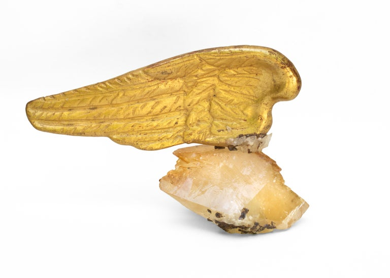 Rococo Pair of 18th Century Italian Angel Wings on Calcite Crystals with Sphalerite