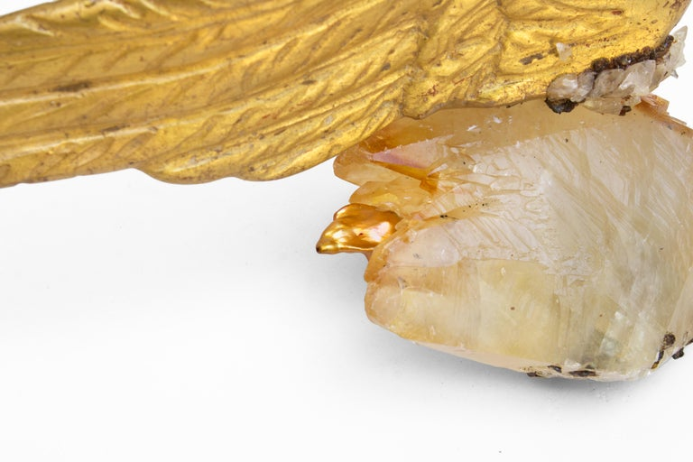 Hand-Carved Pair of 18th Century Italian Angel Wings on Calcite Crystals with Sphalerite