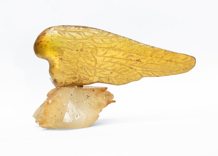 Pair of 18th Century Italian Angel Wings on Calcite Crystals with Sphalerite In Good Condition In Dublin, Dalkey