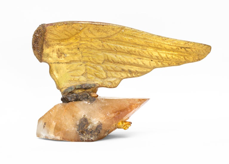 18th Century and Earlier Pair of 18th Century Italian Angel Wings on Calcite Crystals with Sphalerite