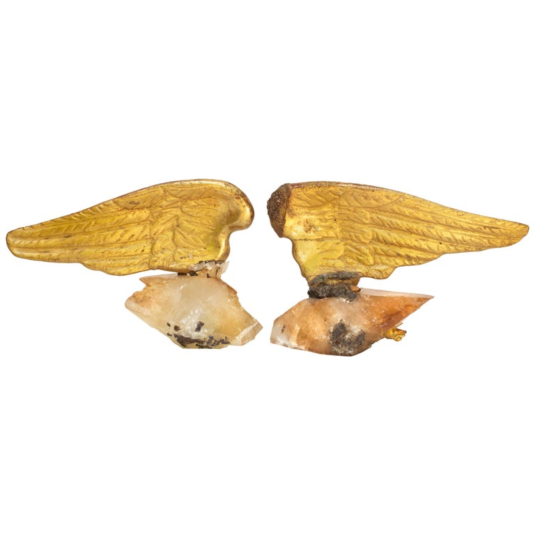 Pair of 18th Century Italian Angel Wings on Calcite Crystals with Sphalerite
