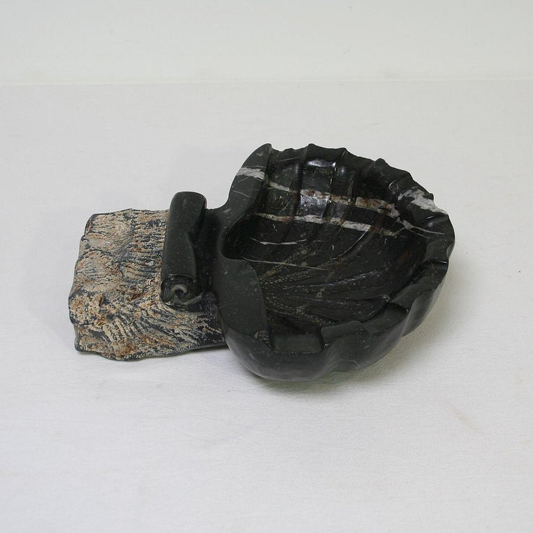 Pair of 18th Century Italian Baroque Black Marble Holy Water Fonts or Stoups For Sale 12