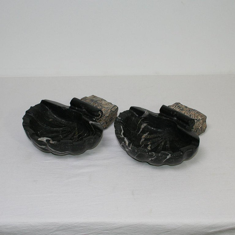 Hand-Carved Pair of 18th Century Italian Baroque Black Marble Holy Water Fonts or Stoups For Sale