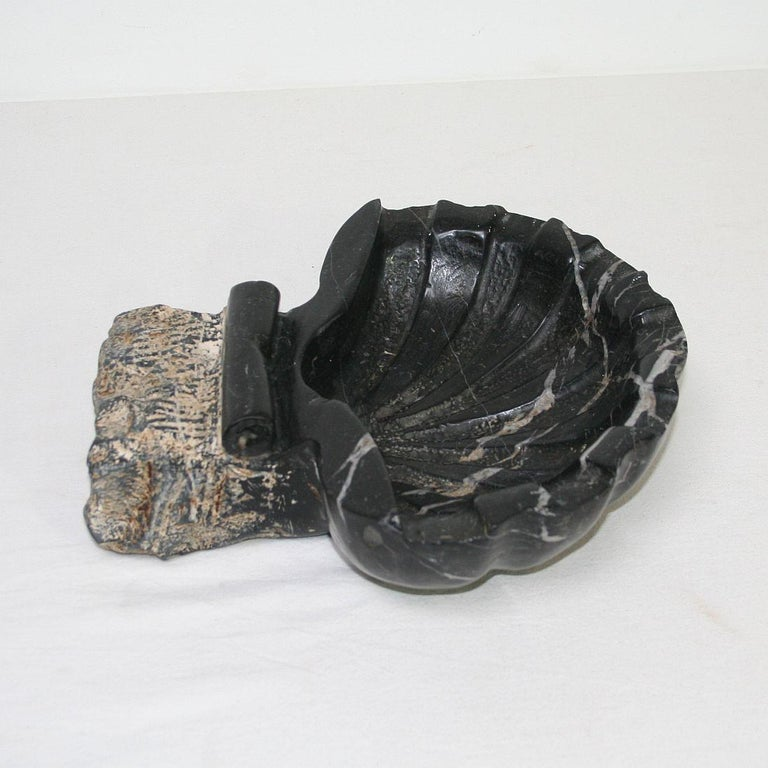 Pair of 18th Century Italian Baroque Black Marble Holy Water Fonts or Stoups For Sale 3