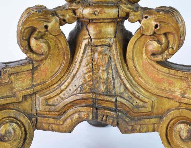 Pair of 18th Century Italian Baroque Carved Giltwood Altar Prickets 8