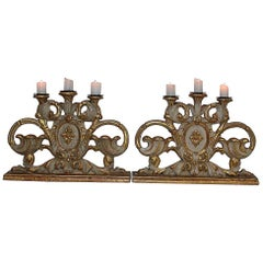 Pair of 18th Century Italian Baroque Carved Wooden Candleholders/Candlesticks