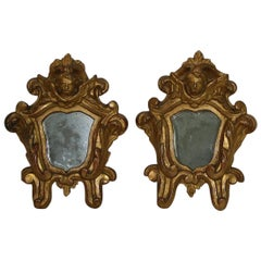 Pair of 18th Century, Italian Baroque Giltwood Mirrors