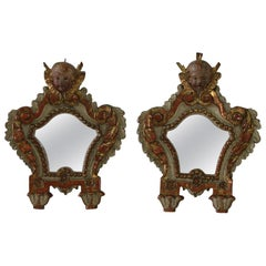 Pair of 18th Century, Italian Baroque Mirrors with Angel Heads