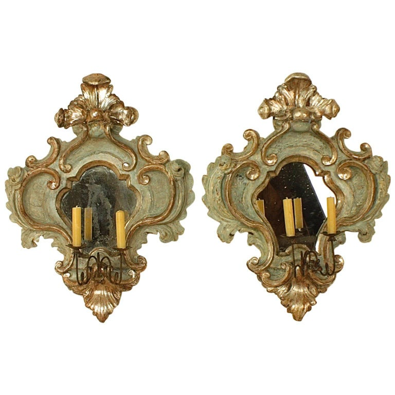 Pair of 18th Century Italian Baroque Painted and Silvered Sconces or Wall Lights