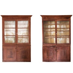 Pair of 18th Century Italian Bookcase, Wood and Glass, Italy