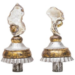 Pair of 18th Century Italian Candlestick Tops with Agate Coral & Baroque Pearls