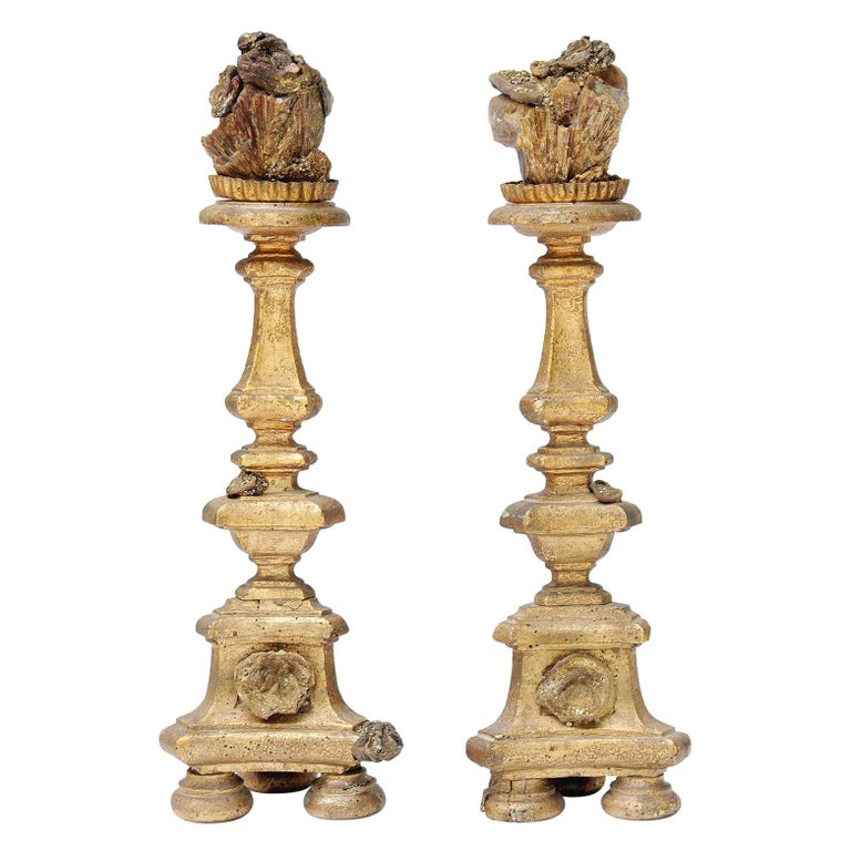 Pair of 18th Century Italian Candlesticks with Chalcedony and Barite Crystals For Sale
