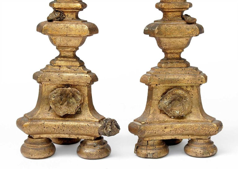 A pair of 18th century Italian candlesticks decorated with chalcedony rosettes with deposits of pyrite. And golden barite crystals tapering down the matrix. These barite crystals were encountered during mining operations and are held by museums and