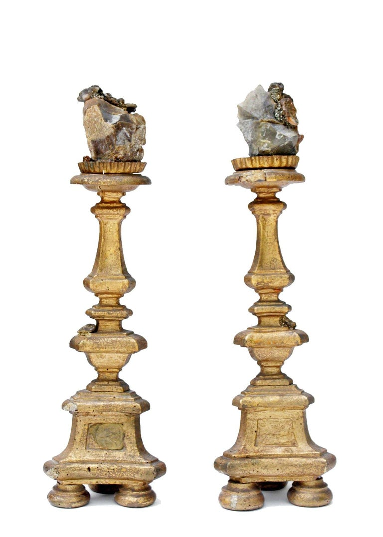 18th Century and Earlier Pair of 18th Century Italian Candlesticks with Chalcedony and Barite Crystals For Sale