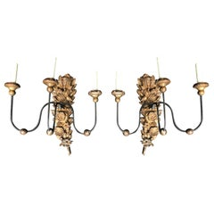 Pair of 18th Century Italian Carved and Gilded Three-Arm Sconces