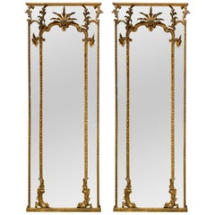 Pair of 18th Century Italian Carved and Giltwood Floor Mirrors