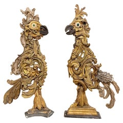 Pair of 18th Century Italian Carved and Giltwood Fragment Rooster Sculptures