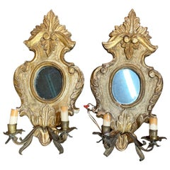 Pair of 18th Century Italian Carved and Giltwood Wall Sconces