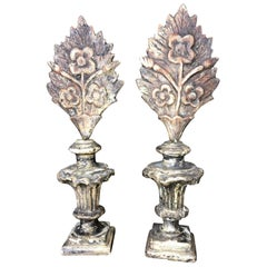 Pair of 18th Century Italian Carved and Painted Finials on Stands