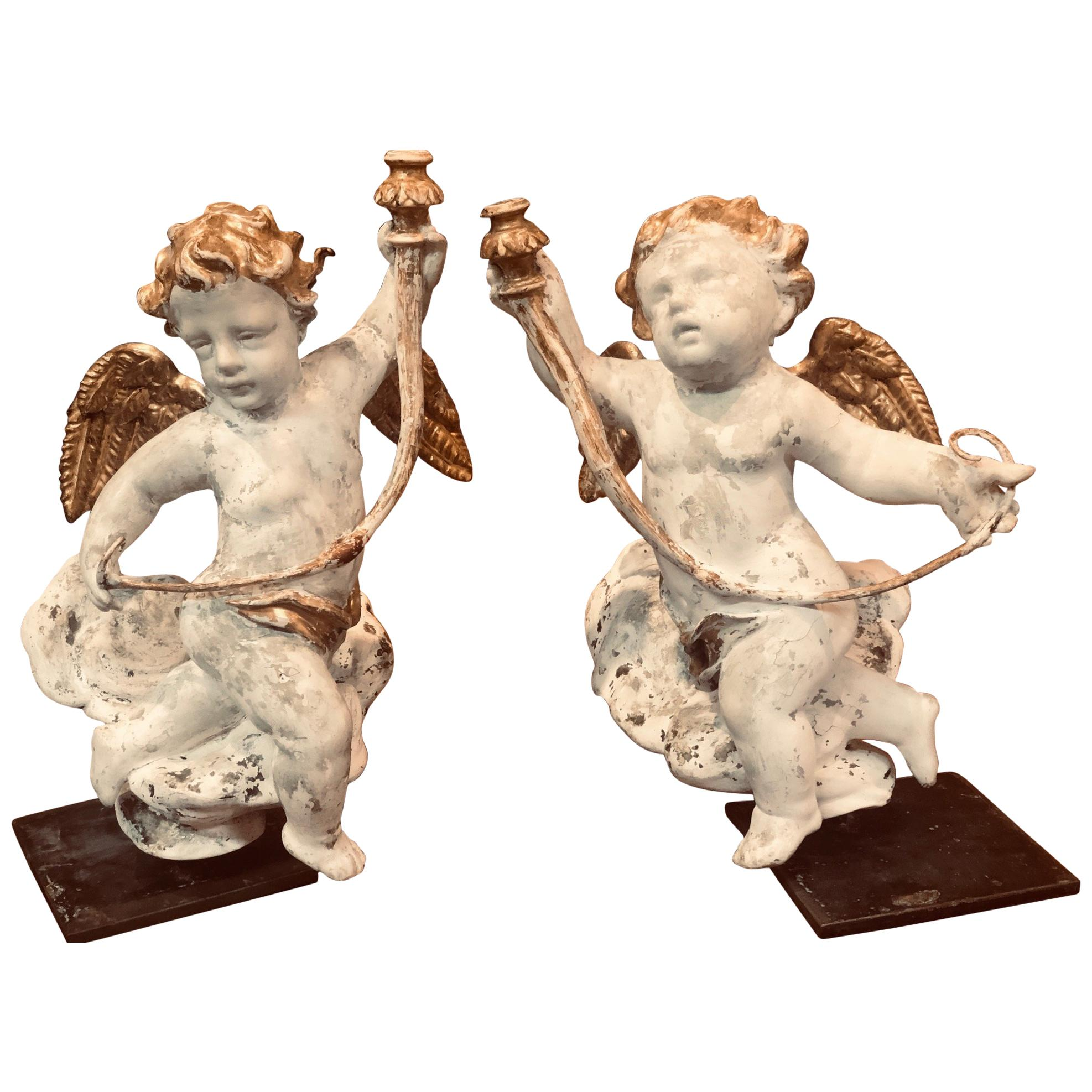 Pair of 18th Century Italian Carved and Parcel Gilt Cherubs