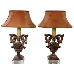 Pair of 18th Century Italian Carved and Polychromed Wood Urn Lamps