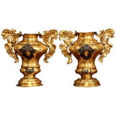 Pair of 18th Century Italian Carved Giltwood and Brass Altar Ornament Vessels