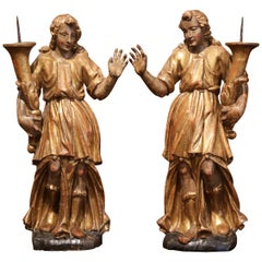 Pair of 18th Century Italian Carved Giltwood and Polychrome Angel Statues