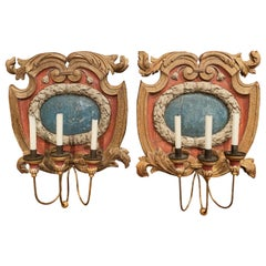 Pair of 18th Century Italian Carved Giltwood and Polychrome Wall Sconces