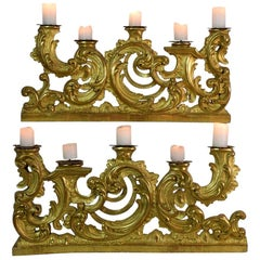 Pair of 18th Century Italian Carved Giltwood Baroque Candleholders