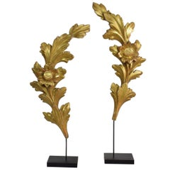 Pair of 18th Century Italian Carved Giltwood Baroque Ornaments