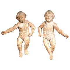 Pair of 18th Century Italian Carved Stripped Oak Cherubs with White Wash Finish