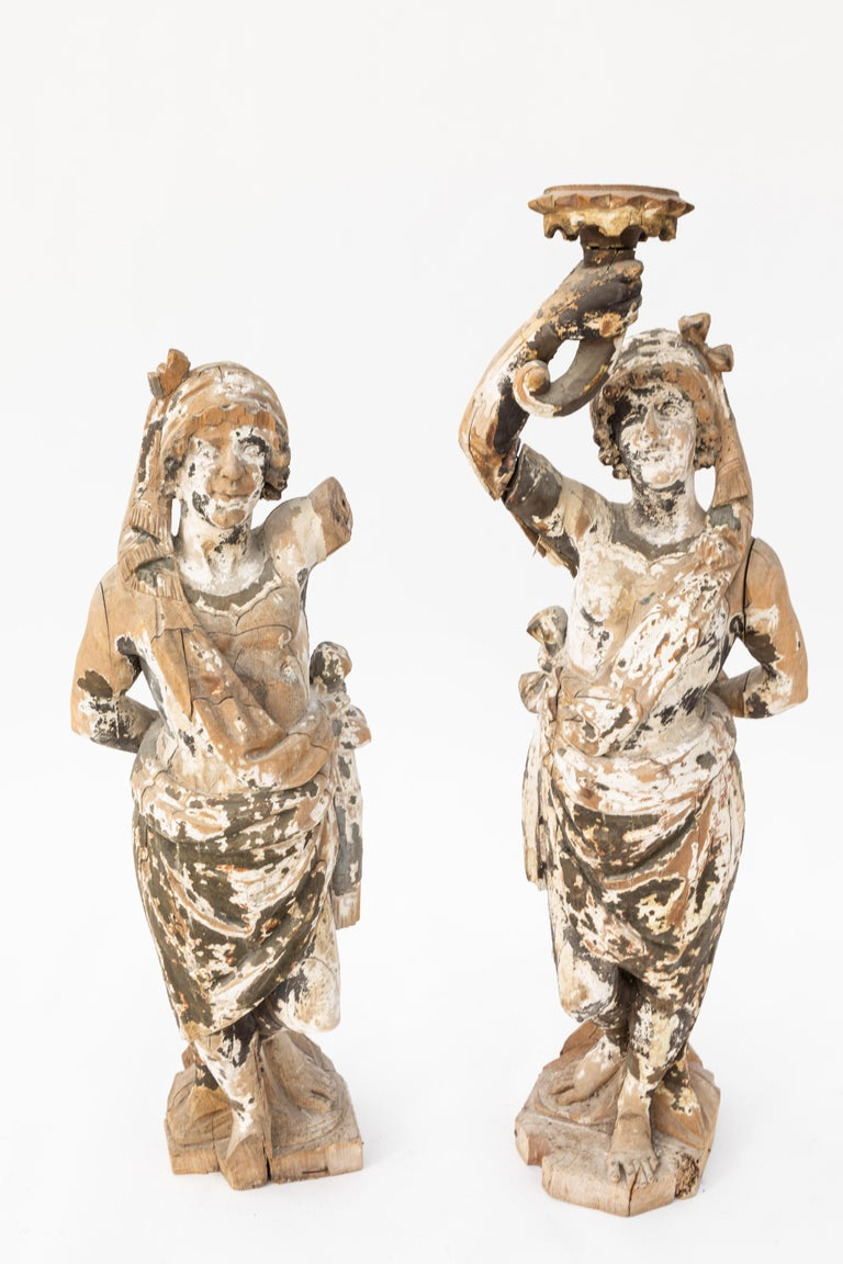 18th Century and Earlier Pair of 18th Century Italian Carved Wood Figures For Sale