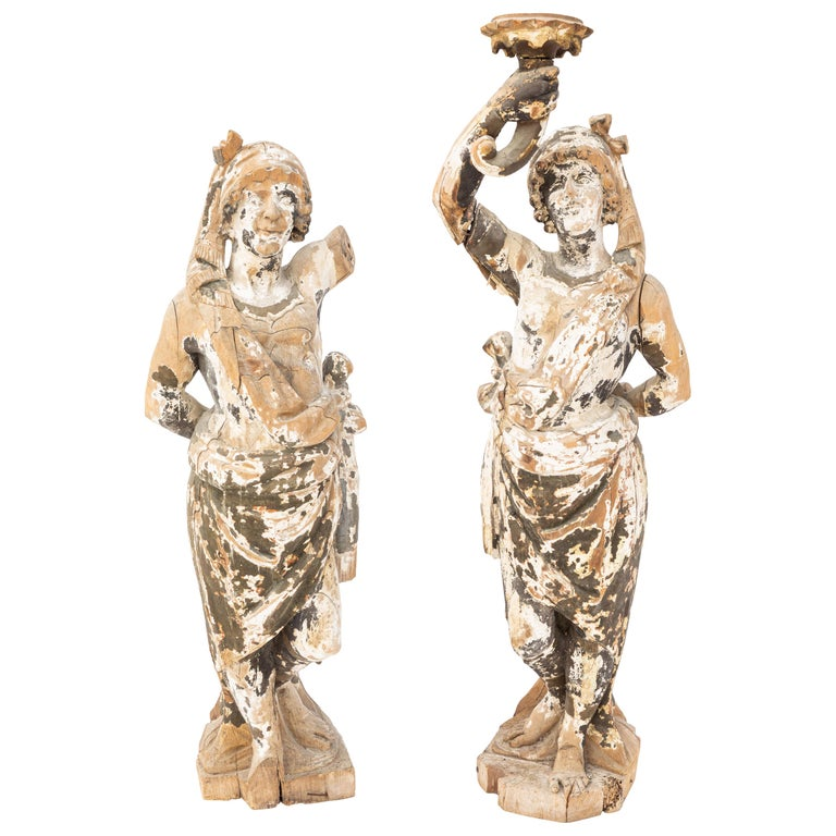 Pair of 18th Century Italian Carved Wood Figures For Sale