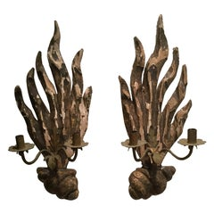 Pair of 18th Century Italian Carved Wood Sconces